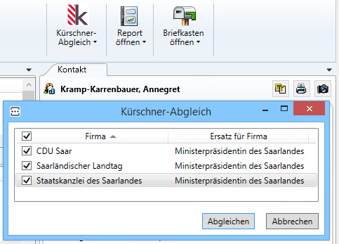 Screenshot Kürschner-Connector für ZAM